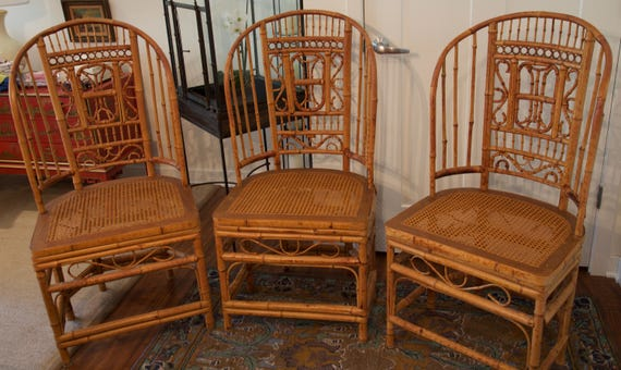 SOLD Thomasville Vintage Bamboo Cane Chairs Chinoiserie