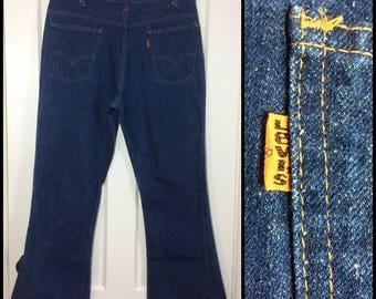 1970s Levi's 646 orange tab 36X31, dark one wash indigo Blue denim Talon zipper #8 button bellbottoms Bell Bottom Flare boyfriend Jeans #287