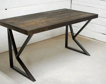 industrial furniture table. Wood Industrial Desk, Rustic Furniture, Office Table Furniture E