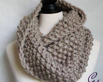 Avalon Taupe Knit Mobius Scarf in Alpaca Yarn
