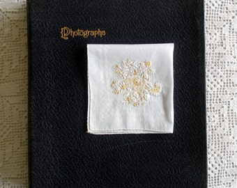 Vintage White Handkerchief with Floral White and Yellow Embroidery, and White Checked Edge