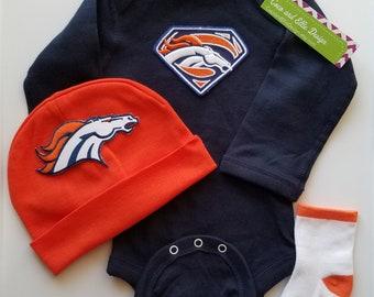 Denver Broncos baby outfit-denver broncos baby shower gift-denver broncos baby-denver bronco newborn-broncos newborn/baby denver broncos