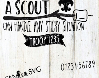 Boy Scout Cub Scout Marshmallow Sticky Situation SVG DXF PNG Digital Cut File for use with cutting machines Cricut Silhouette