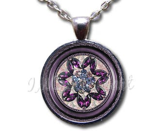 Brooch Image Collection: Purple Gem Floral Glass Dome Pendant or with Chain Link Necklace NT178