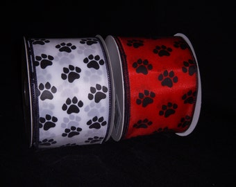 """Paw Print Wired Ribbon - WHITE or RED Satin 2 1/2"""" Ribbon with Black Paw Prints - Dog/Cat Pawprint Wire Edged 2.5"""" - 30 Ft ROLL (10 Yards)"""