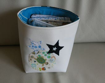 ON baby boy cotton storage COMMANDE_Panier / coated canvas / leather