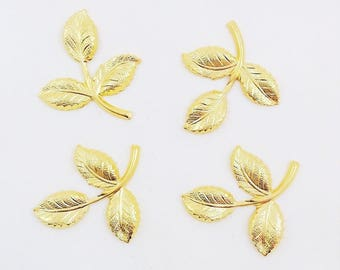 Gold Brass Leaf, Brass Leaves, Brass Stamping, Brass Finding, Wedding Headpiece Supply, 26mm x 29mm - 4 pcs. (gd284)
