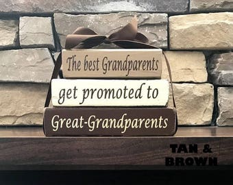 """Grandma/mothers day """"MINI""""stacker blocks--The best Grandparents get promoted to Great-Grandparents-Mother's day gift"""