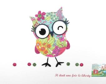Applique liberty fusing OWL fabric Chiara summer + flex glitter applied liberty patterns seconds iron on