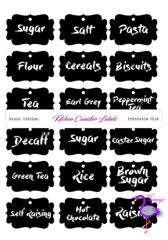 kitchen labels brush font black white printable kitchen