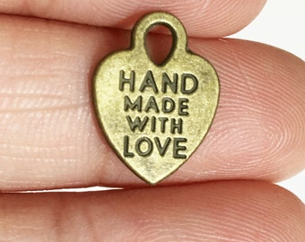20 pcs of antique brass 'made with love' charm 11x8mm, antique bronze massage charm, antique brass heart charm