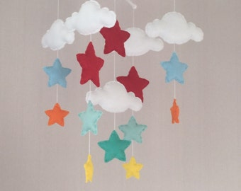 Baby mobile - Cot mobile - clouds and stars - Cloud Mobile - Nursery Decor - Rainbow Baby Mobile