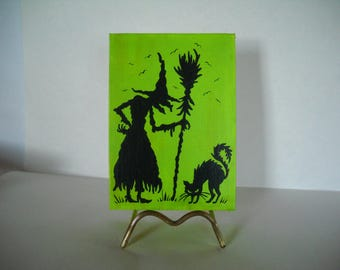 witch silhouette, halloween silhouette, witch and broom, witch and cat,Halloween decoration, OOAK, halloween art, halloween canvas