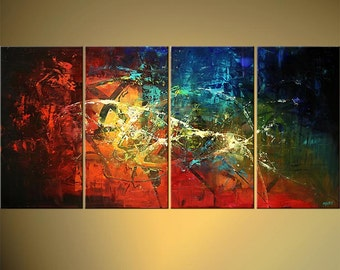 Modern  Abstract Painting, Original Colorful Textured Contemporary Art From Osnat - MADE-TO-ORDER