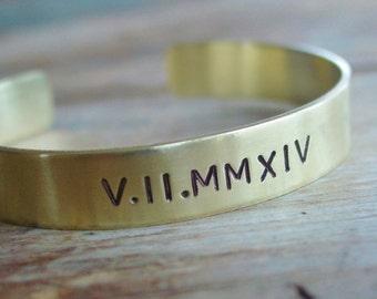 Roman Numeral Bracelet, Personalized Brass Cuff, Roman Numeral Cuff, Date Bracelet, Custom Bracelet, Roman Numeral Jewelry, Wife Anniversary