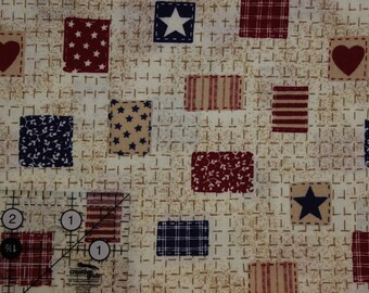 """Vintage Americana stitched blocks on tan  42""""-44""""  wide  100% cotton Fabric Traditions 1993"""