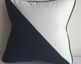 Decorative Pillow, Blue & White Outdoor Pillow Cover, 18x18, insert included