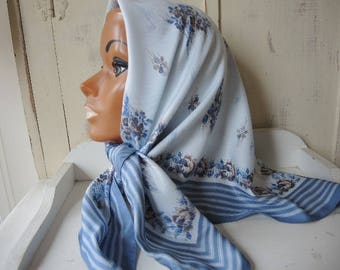 Vintage 1970s polyester scarf abstract floral striped blues made in Italy  30 x 31 inches