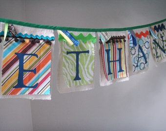 Personalized Banner Choose your colors & theme. Hand painted fabric and burlap
