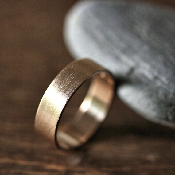Man S Hand Bands: Gold Men's Wedding Band 6mm Wide Brushed Flat 14k