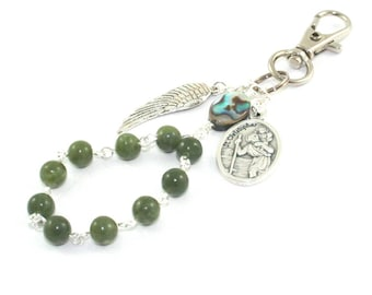 Catholic Travel Rosary Clip, St Christopher Medal, Paua Shell & Greenstone