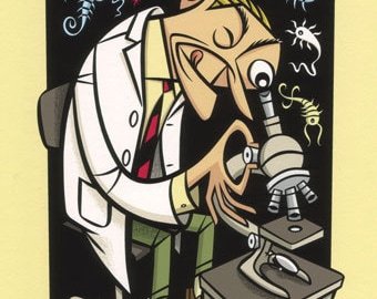 Microman, high quality print in mid-century cartoon style of a scientist examining microscopic lifeforms.