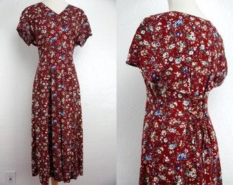 1990s Grunge Dress Maxi Corset Floral Burgundy Red Button Short Sleeve Medium