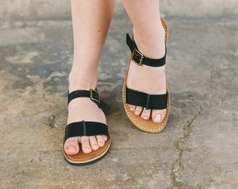 Black Ankle-Strap Sandals, Leather Sandals, Black Leather Sandals, Summer Shoes, Boho Sandals, Leather Flats, Black Sandals, Summer Sandals