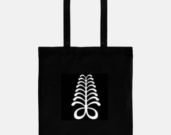 Aya, Fern, Symbol of Endurance and Resourcefulness, Gift for Book Lover, Personalized Tote, Book Bag, Adinkra Symbol, Ghana