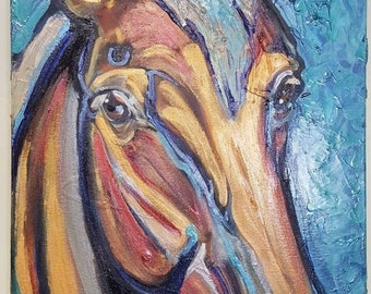 Abstract horse painting, large horse abstract, abstract horse art, colorful horse,  horse artwork, equine art, mixed media horse, Pebeo