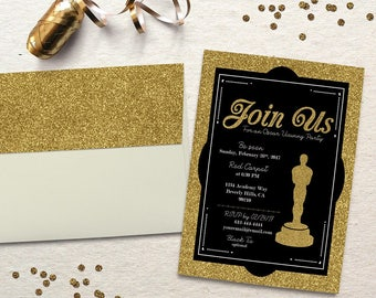 Oscar Party Invitation - Academy Awards. Oscar Viewing Party Invite. Hollywood Party. Digital File to Print Yourself.
