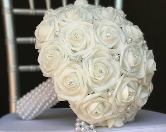 Bling Pearl BRIDAL BOUQUET. Pearl wrapped bridal bouquet with bling pearl rhinestone gems. Real Touch roses. Pick your rose color.