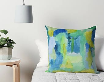 Blue And Green, Throw Pillow, Art Pillow, Couch Cushion, Accent Pillow, Art Throw Pillow, 16x16 18x18 20x20 24x24 26x26, Couch Pillow