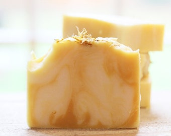 Yuzu Calendula Soap | Cold Process Soap | Handmade Soap | Orange Essential Oil | Calendula Petals