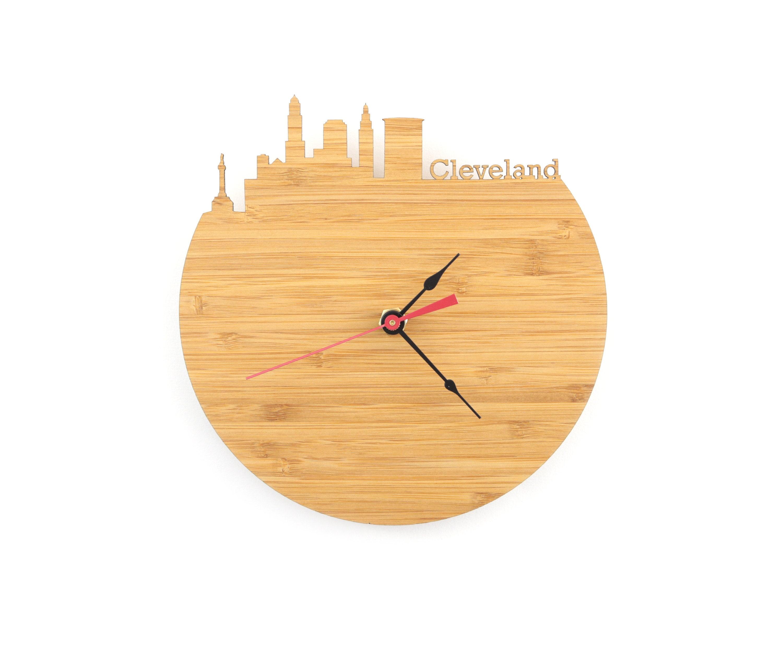 Wall Clock Cleveland Skyline
