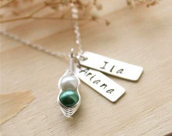 Mothers Day Jewelry, Pea Pod Necklace, 2 Peas in a Pod, Personalized Name Necklace, Mothers Necklace, Best Friends Necklace, Gift for Sister