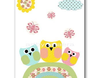Owl Decor Owl Nursery Kids Wall Art Baby Boy Nursery Art Decor Kids Art Baby Room Decor Nursery Print Boy Print Yellow Rose Blue Green