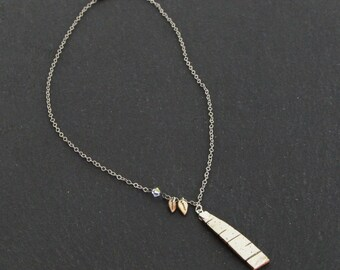 Birch bark necklace, small, Tree and leaves