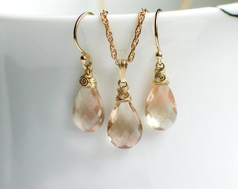Oregon Sunstone Earrings Pendant Necklace Set | Pink Champagne Sunstone Pear Briolettes | 14k Gold Filled | Birthday Gift | Ready to Ship
