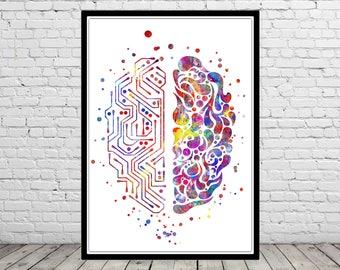 Circuit board brain, circuit board brain print, watercolor circuit board brain, circuit board, brain, science art, science  (4402b)