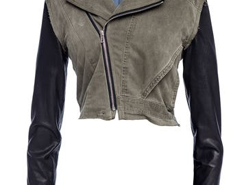 Commander Cropped Military Mechanic Cotton and Leather Combo Jacket