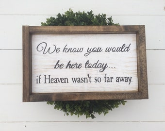 We Know You Would Be Here Today If Heaven Wasn't So Far Away Wood Framed Sign