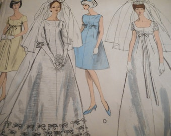 SALE Vintage 1960's Vogue 6768 Special Design Bridal Evening Dress and Hat Sewing Pattern Size 12 Bust 32