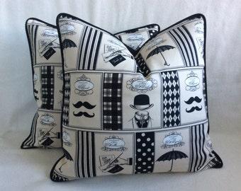 Gentlemen Pillow Cover Set - Black/Beige
