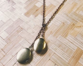 simple locket necklace - double locket oval brass lariat