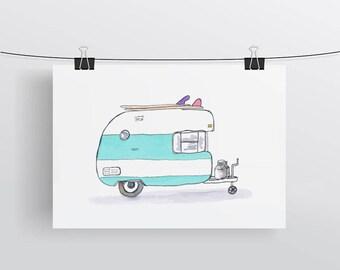 Surf Caravan Campervan - watercolour retro art illustration print - A4 Print Happy Camper