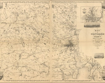Poster, Many Sizes Available; Map Of Providence County, Rhode Island 1851