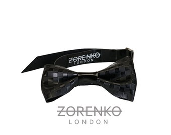 Etched Latex Chequered Men's Bow Tie