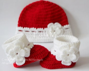 Crochet baby set, baby booties and hat, baby girl shoes, boots, beanie, Christmas, red, white, 0-3,3-6 months, baby shower, gift for new mom