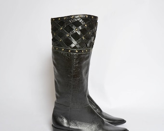 Vintage 80's Black Leather Boots with Suede and Gold Studs